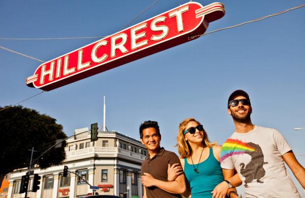 Walking-under-Hillcrest-Sign